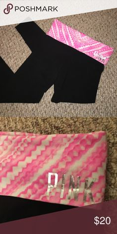 PINK victorias secret foldover waist legging White/pink patterned waistband with silver PINK on front corner PINK Victoria's Secret Pants Leggings