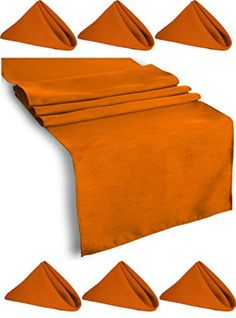 Set Table Runner Polyester 14 X 108 Inch & 6 Napkins Burnt Orange By Broward Linens - Brought to you by Avarsha.com