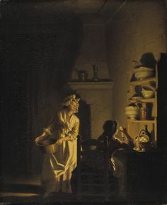 """Interior of a Kitchen"""", mid-to-late C., by Pehr Hilleström (Swedish, At the National Museum of Sweden 18th Century Clothing, 18th Century Fashion, 17th Century, Art Ancien, Kirchen, National Museum, Art Plastique, Light Art, Art Reproductions"""
