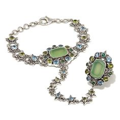 """Nicky Butler Peri Chalcedony and Multigemstone Sterling Silver """"Star"""" Ring-Bracelet Hand Chain"""