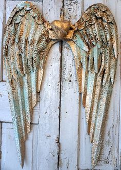 Rusty metal angel wings wall hanging large distressed rusted sea foam shabby cottage chic wing set accented white /w gold decor anita spero by anitasperodesign. Explore more products on http://anitasperodesign.etsy.com