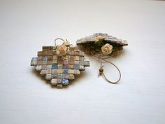 Paper Heart Mini Basket, Recycled Paper in Neutral Shades, Tight Weave Pattern, Hand Woven Ornament