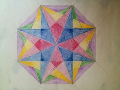 Octagon. Waldorf 6th grade. Geometric drawing.