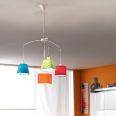 Lighting Concepts for Your Youngsters' Room. The best light can aid visually separate a big, shared room similar to this one # Childrens Lamps, Kids Lighting, Kids Room Wallpaper, Modern Lighting Design, Modern Lighting, Kids Ceiling Lights, Hanging Lights, Kids Room Lighting, Ceiling Lights