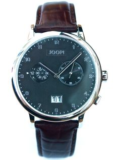 JOOP! men's watch with  brown leather strap and big date. From €260 for €129-. See more at - www.megawatchoutlet.com