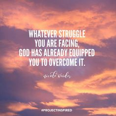 Whatever struggle you are facing, God has already equipped you to overcome it! - Nicole Weider