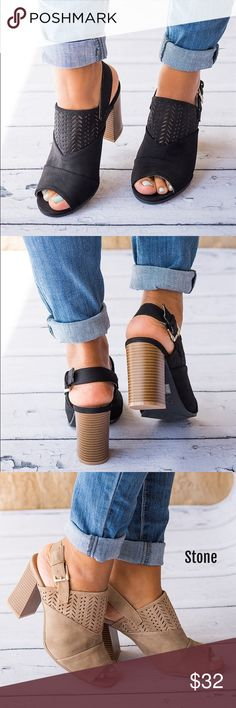 """Black Chunky Heel Ankle Booties These shoes make a trendy accessory that makes you chic & stylish. Great with jeans or dresses!. ❌No trades. Brand new with box. Material: Nubuck Faux Suede.  Featuring:  A cut out design Peep toes front 4"""" Chunky stacked heels Qupid Shoes Ankle Boots & Booties"""