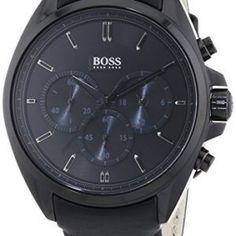 Hugo-Boss-Herren-Armbanduhr-XL-Driver-Chronograph-Quarz-Leder-1513061-0