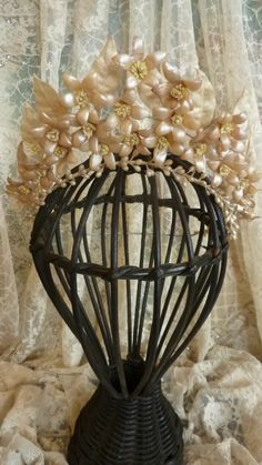 Romantic French bride's wax wedding crown tiara pearl champagne color from frenchfadedgrandeur on Ruby Lane