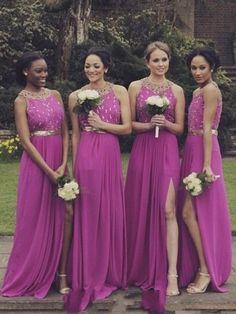 Wholesale Open Back Chiffon A-line Scoop Neck Split Front Bridesmaid Dresses #PLS01012764