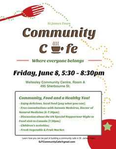 poster for on the of the St. Jamestown Community Cafe events