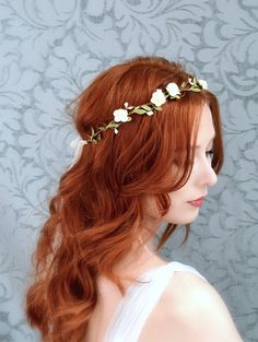 Floral crown boho bridal headpiece ivory flower by gardensofwhimsy