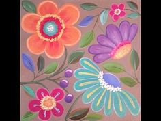Easy Whimsical Flowers Acrylic Painting Tutorial for Beginners - YouTube