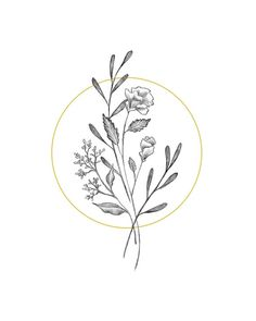 Botanical Elegant Flower Bouquet - Modern Minimal Drawing of Simple Black and White Wildflowers - Di Wildflower Drawing, Wildflower Tattoo, Flower Bouquet Tattoo, Flower Tattoos, Bouquet Of Flowers Drawing, Minimal Drawings, Easy Drawings, Tattoo Sketches, Tattoo Drawings