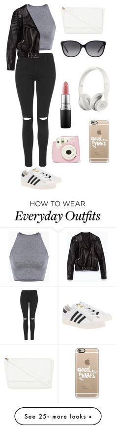 """Everyday outfit! #2"" by theaankerstjerne on Polyvore featuring Topshop, Zara, adidas Originals, Skinnydip, Michael Kors, Casetify, Beats by Dr. Dre and MAC Cosmetics"