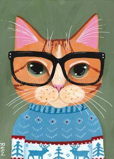 Ginger Kitty Ugly Christmas Sweater Original Cat Folk Art Acrylic Painting by KilkennyCat Art - Design interests Art And Illustration, Illustrations, Christmas Cats, Ugly Christmas Sweater, Christmas Outfits, Ugly Sweater, Folk Art Acrylic Paint, Gato Calico, Frida Art