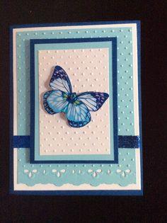 Carte créée par Chantal Rivard / tout en bleu et blanc, papillon #butterfly #blue #white #card