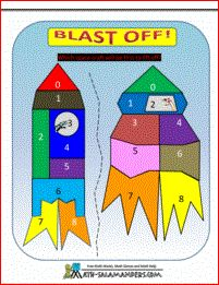 Blast Off - a math addition game with numbers from 1 to 6.