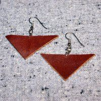 TRIANGULATION LEATHER EARRINGS