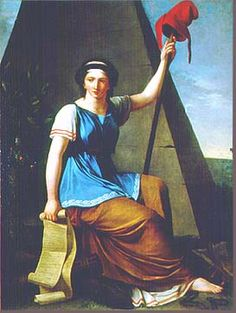 """A woman, Nanine Vallain painted this painting of """"La Marianne"""" in 1793-1794. It hung in the Jacobin club where hard-line revolutionaries met in Paris. She's holding the Declaration des droits de l'homme in her other hand"""