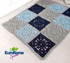 Tapete Quadrados de Crochê com EuroRoma Spesso