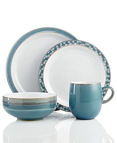 Lasting durability with handmade charm. The Azure dinnerware and dishes collection from Denby is made of sturdy stoneware and hand painted in mix-and-match patterns for a look unique to you. Casual Dinnerware Sets, Dinnerware Ideas, Denby Pottery, Tabletop, Everyday Dishes, Stoneware Dinnerware, Fine China, Tableware, Kitchenware
