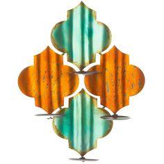 Antique Turquoise & Orange Quatrefoil Metal Wall Sconce