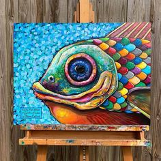 Cow Painting, Acrylic Painting Canvas, Canvas Art, Image Of Fish, Fish Artwork, Sea Life Art, Art Drawings For Kids, Funky Art, Abstract Drawings