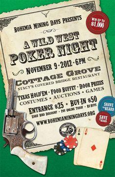 A Wild West Poker Night Poster Design by Formula Design in Eugene, Oregon. Bridge Restaurant, Auction Games, Oregon Living, Cottage Grove, Poker Night, Eugene Oregon, Web Design, Graphic Design, Covered Bridges
