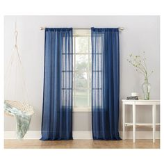 "Avril Crushed Sheer Curtain Panel Indigo (Blue) (50""x95"") - No. 918"