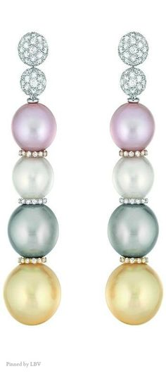 "Chanel Pearls – Les Perles de Chanel – ""Perles Swing"" earrings in white, yellow and rose 18K gold 
