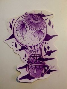 Air ballon and sunflower Biancaneve tattooer Milano