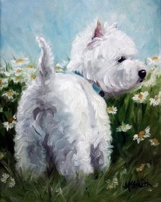 Westie by Mary Sparrow Smith - available in a garden flag from Michigan Westie Rescue's ebay store