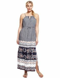 23ad5e24b1 Plus Bali Floral Border Belted Maxi Dress - Marks   Spencer Floral Border