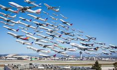 Eight hours of take-offs at LAX (Los Angeles International Airport)  merged into ONE stunning image