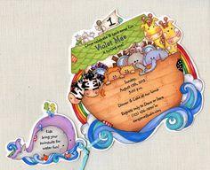 10 Noah's Ark Birthday Party Invitations   by sarajanestudio, $14.00