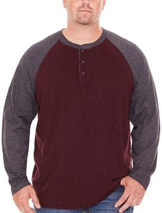fa9c76176dc1 The Foundry Big & Tall Supply Co. Mens Long Sleeve Henley Shirt-Big and Tall