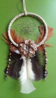 Dream Catcher  Bronze Flower  Beaded  Tribal by TheModernDreamer
