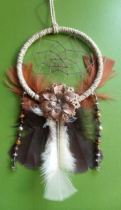 Dream Catcher  Bronze Flower  Beaded  Tribal by TheModernDreamer