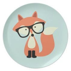Cute Hipster Red Fox Party Plates