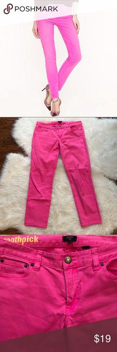 "J. Crew Ankle Toothpick Jeans in Hot Pink J. Crew Ankle Toothpick jeans in excellent condition. Vibrant hot pink color. A looks-great-on-everyone skinny silhouette. Sits lower on hips, with a superskinny, straight leg. Cotton with a hint of stretch. Traditional 5-pocket styling. About 27"" inseam. 99% cotton, 1% spandex. Size 31. J. Crew Jeans Skinny"