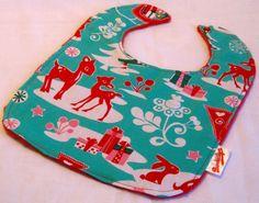 Happy Holidays Deer Red Minky  Bib