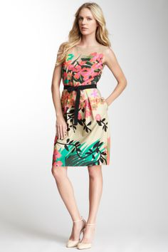 Alberta Ferretti Printed Popline Mesh Yoke Dress