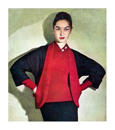 1950s Couture Knitting Pattern Pencil Skirt Suit Marcel Rochas Paris