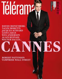 Robert Pattinson on the cover of Telerama (France) promoting Cosmopolis