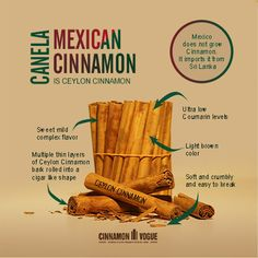 Mexican Cinnamon sticks are actually Ceylon Cinnamon sticks imported almost exclusively from the Island of Sri Lanka. Mexico does not grow Cinnamon. Soft and easily to crumble or grind. it is known as Canela in Mexico. Ceylon Cinnamon Sticks, Mexican, Foods, Sri Lanka, Recipes, Vogue, Island, Guys, Canela