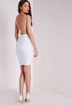 Slinky Strappy Ruched Midi Dress White - Dresses - Midi Dresses - Missguided