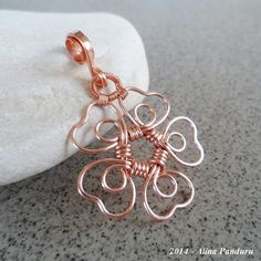 SHAMROCK Copper Pendant - Copper Jewelry - Irish Inspired- Handmade Wire Wrapped Wrap Hammered Heart Shaped Flower Pendant - Artisan Pendant