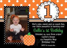 Pumpkin Birthday Invitation Fall Pumpkin 1st Birthday Party Invitation Boys or Girls