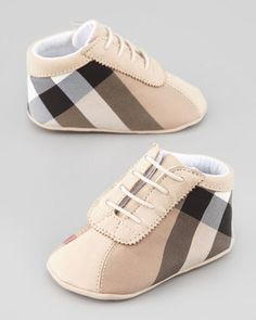 Burberry Check Canvas Bootie, Baby - ShopStyle